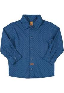 Camisa Manga Longa Meia Malha Azul