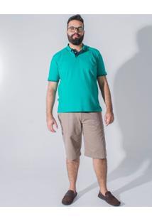 Bermuda Sarja Plus Size Bolso-Faca Longford Cinza