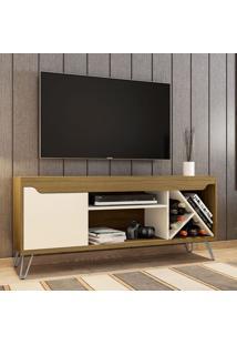 Rack Para Tv Até 55 Polegadas Kenzo 1 Porta Cinamomo/Off White - Móveis Bechara