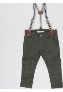 Calça De Sarja Infantil Cargo + Suspensórios Verde Escuro