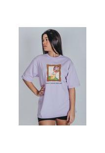 Camiseta Feminina Oversized Boutique Judith Don'T Touch This Art Lilás