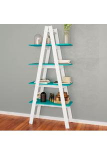 Estante Decorativa Escada Maior Rt 3048 Branco/Turquesa - Móvel Bento
