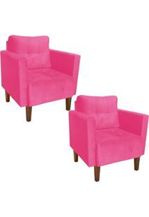 Kit 02 Poltrona Decorativa Lívia Para Sala E Recepção Suede Rosa Barbie - D'Rossi