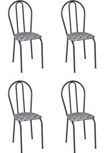 Conjunto 4 Cadeiras Hécate Cromo Preto E Estampa Capitonê