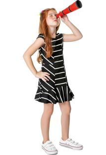 Vestido Peplum Malha Listrada Menina Malwee Kids