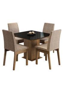 Sala De Jantar Madesa Gaia Mesa Tampo De Vidro Com 4 Cadeiras Preta/Marrom