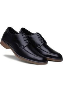 Sapato Social Masculino Cadarço Bico Redondo Confortável - Masculino-Preto+Marrom