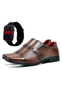 Sapato Social Urbano Com Relógio Led Masculino Dubuy 821Db Marrom