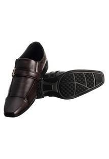 Sapato Social Masculino Elástico Metal Conforto Moderno Marrom Escuro 44 Marrom