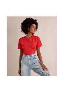 Camiseta De Algodão Básica Manga Curta Decote Redondo Vermelha
