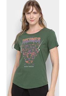 Camiseta Colcci Dreamer Night Queen Feminina - Feminino-Verde Escuro