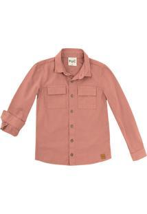 Camisa Infantil Menino Em Sarja Com Bolsos