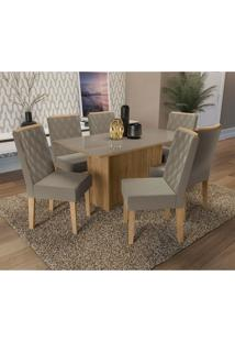 Conjunto De Mesa De Jantar Com Tampo De Vidro E 6 Cadeiras Cidra Suede Cinza E Freijó