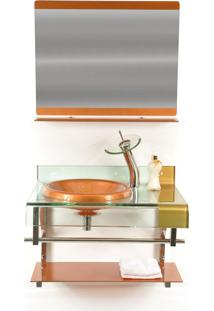 Gabinete De Vidro 70Cm Para Banheiro Turquia Dourado Ekasa