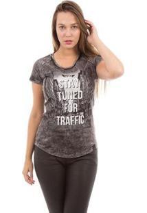 Camiseta Aes 1975 Stay Tuned Feminina - Feminino-Preto