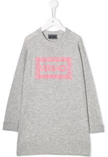 Young Versace Vestido Com Estampa De Logo - Cinza