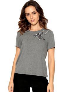 T-Shirt Malha Bordada Energia Fashion Cinza - Cinza - Feminino - Viscose - Dafiti