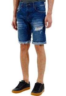 Bermuda John John Clássica Edimburgo 3D Jeans Azul Masculina (Jeans Medio, 46)