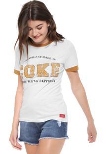 Camiseta Coca-Cola Jeans Estampada Branca/Amarela