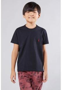 Camiseta Infantil Reserva Mini Brasa Pica-Pau Bordado Masculina - Masculino-Preto