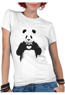 Camiseta Criativa Urbana Panda Coração Divertidos Branco
