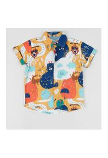 Camisa Infantil Estampada De Monstros Manga Curta Multicor