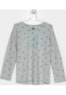 Camiseta Infantil Benetton Estampada Manga Longa - Feminino-Cinza Claro