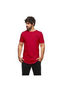 Camiseta Longline Oversized Swag Manga Curta Wooks C1-Vermelho-Gg