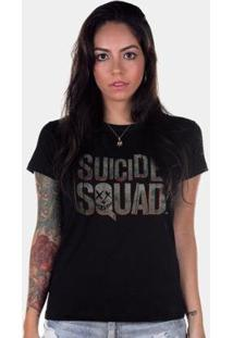 Camiseta Bandup! Esquadrão Suicida Logo - Feminino-Preto