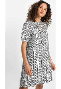 Vestido Decote Com Gota E Amarração Branco/Preto