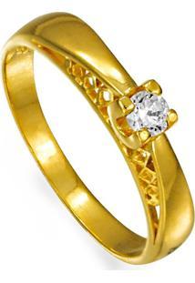 Gargantilha Em Ouro 18K Estrela Com Ródio E 6 Brilhantes - Gg11251