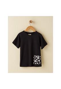 Amaro Feminino Camiseta Infantil Bolso Estampado, Preto