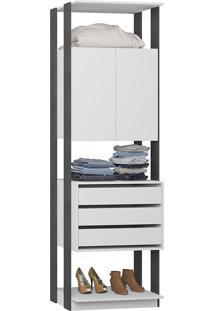 Estante Armário C/ Gaveteiro Clothes – Be Mobiliário - Branco / Espresso