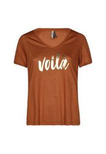 Camisetas Khelf Camiseta Feminina Voilà Bege