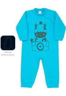 Macacão Pijama Infantil Dedeka Soft Zebra Brilha No Escuro Masculino - Masculino-Azul