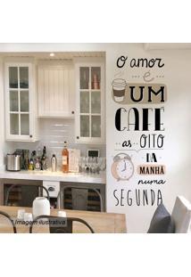 Adesivo De Parede O Amor É Um Cafã©- Preto & Rosa- 14Grudado
