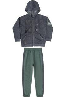Conjunto Jaqueta E Calça Moletom Infantil Quimby Masculino - Masculino-Cinza