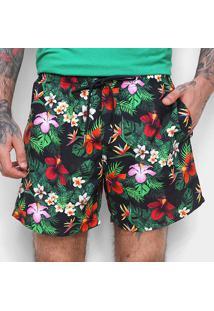 Boardshorts Colcci Es2 Ccs Praia Floral Masculino - Masculino-Preto