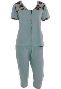 Pijama Pescador Em Malha Rmb Lingerie Floral Verde