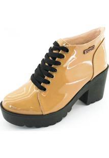Bota Coturno Quality Shoes Feminina Verniz Amendoa 40