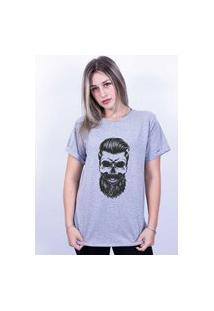 Camiseta Bilhan Corte A Fio Caveira B Cinza
