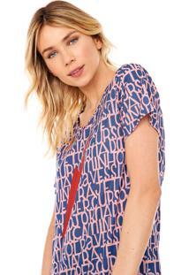 Camiseta Cantão Letras Azul/Rosa