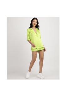 Camisa Feminina Alfaiataria Alongada Manga Curta Gola Esporte Verde