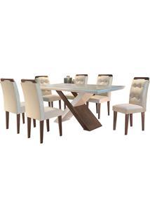 Conjunto De Mesa Para Sala De Jantar Tampo De Vidro Com 6 Cadeiras Doris-Rufato - Veludo Creme / Off White / Café