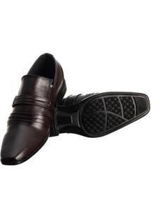 Sapato Social Masculino Elástico Metal Conforto Elegante - Masculino-Marrom Escuro