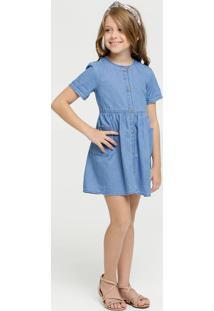 Vestido Infantil Jeans Manga Curta Marisa