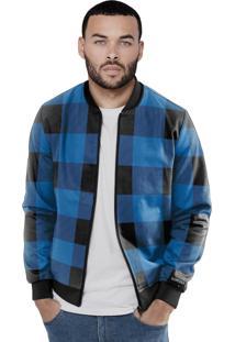 Jaqueta Bomber Chess Clothing Xadrez Preto/Azul
