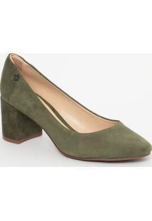 Sapato Em Couro Acamurçado- Verde Militar- Salto: 6,Capodarte