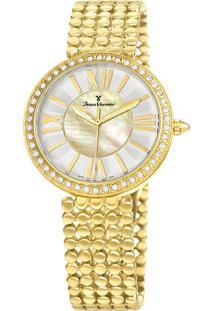 Relógio Analógico Jv01320- Dourado & Branco- Jean Vejean Vernier
