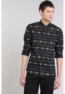 Camisa Masculina Estampada Étnica Manga Longa Preta